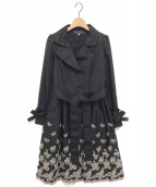 M'S GRACY(エムズグレイシー)の古着「リボン刺繍フレアライトコート」 ブラック