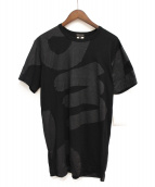 COMME des GARCONS Homme Plus(コムデギャルソンオムプリュス)の古着「プリントロングTシャツ」|ブラック