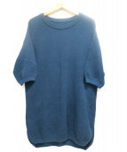 crepuscule(クレプスキュール)の古着「クルーネック半袖ニット」|ブルー