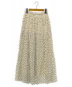 UNITED ARROWS(ユナイテッドアローズ)の古着「ドットギャザーマキシスカート」|ホワイト