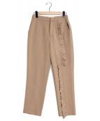 Ameri VINTAGE(アメリビンテージ)の古着「フリルテーパードパンツ」|ブラウン