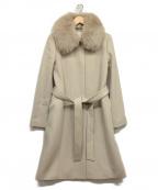 NATURAL BEAUTY(ナチュラルビューティー)の古着「カシミア混フォックスファー襟ステンカラーコート」 グレー