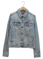 LEVIS(リーバイス)の古着「刺繍ペイントオリジナルデニムトラッカージャケット」|インディゴ