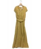 BLUEBIRD BOULEVARD(ブルーバードブルバード)の古着「ソリッドカラーVネックドレス」 マスタード