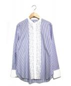 BEIGE(ベイジ)の古着「レースストライプシャツ」|ブルー×ホワイト