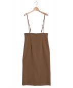Noble(ノーブル)の古着「ショルダーストラップサロペットスカート」|ブラウン