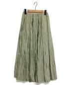 Mila Owen(ミラオーウェン)の古着「タックフレアサテンマキシスカート」|オリーブ