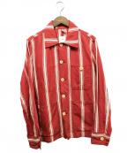 ts(s)(ティーエスエス)の古着「ストライプリネンカバーオール」 レッド