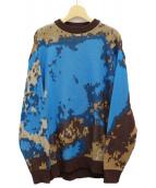 MUZE(ミューズ)の古着「ターコイズニット」|ブラウン×ブルー
