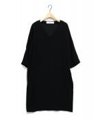 saqui(サキ)の古着「Vネックドルマンスリーブワンピース」|ブラック