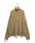 BED J.W. FORD(ベッドフォード)の古着「クラッシュ加工ニット」|ベージュ