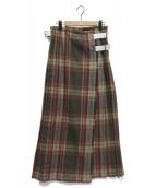 ONEIL OF DUBLIN(オニール オブ ダブリン)の古着「ロングキルトスカート」 オリーブ×レッド