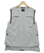 ato(アトウ)の古着「ナイロンレースアップベスト」|ライトグレー