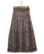 Apuweiser-riche(アプワイザーリッシェ)の古着「ティアードプリントチュールスカート」 ブラウン