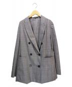 icB(アイシービ)の古着「チェックダブルジャケット」|グレー
