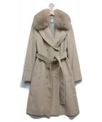 Pinky & Dianne(ピンキーアンドダイアン)の古着「フォックスファー襟付コート」|ベージュ