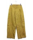 CellarDoor(セラドール)の古着「リネンタックパンツ」|イエロー