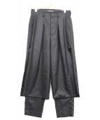ETHOSENS(エトセンス)の古着「レイヤードパンツ」|ブラック