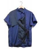 yoshio kubo(ヨシオクボ)の古着「ボンテージシャツ」|ネイビー