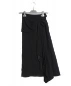 PRADA(プラダ)の古着「アシンメトリースカート」|ブラック