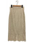 Noble(ノーブル)の古着「リバーレースタイトスカート」|ベージュ