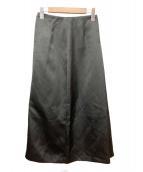 LE CIEL BLEU(ルシェルブルー)の古着「Satin A-Line Skirt」|ブラック
