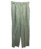 SHIPS(シップス)の古着「リネンチェックパンツ」|グリーン