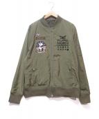 pandiesta japan(パンディエスタ ジャパン)の古着「飛翔熊猫リバーシブルMA-1ジャケット」|オリーブ
