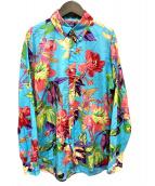 POLO RALPH LAUREN(ポロラルフローレン)の古着「フラワープリントシャツ」|スカイブルー