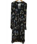 DOUBLE STANDARD CLOTHING(ダブルスタンダードクロージング)の古着「ヴィンテージシフォンフラワーワンピース」|ブラック