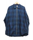 MYNE(マイン)の古着「Check zip-up shirt」|ブルー