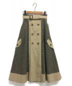 AMERI(アメリ)の古着「チェックトレンチスカート」|ベージュ