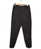 TOMORROW LAND(トゥモローランド)の古着「コットンダブルクロリムストレートパンツ」 ブラック