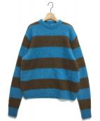 ATON(エイトン)の古着「モヘアボーダーニット」|ブルー