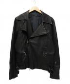 LEATHER JEWELS(レザージュエルズ)の古着「レザーライダースジャケット」 ブラック