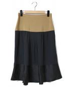 N°21(ヌメロ ヴェントゥーノ)の古着「バイカラースカート」|ベージュ