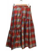 MACPHEE(マカフィー)の古着「シルクマドラスチェックアシメティアードスカート」|レッド