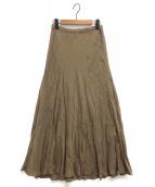Plage(プラージュ)の古着「Plage Fibrilギャザーロングスカート」 ブラウン