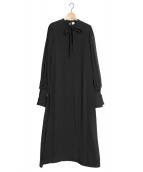 ELIN(エリン)の古着「Sanding chiffon bow tie dress」|ブラック
