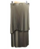 LANVIN en Bleu(ランバンオンブルー)の古着「アシンメトリープリーツスカート」|カーキ