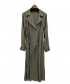 MAISON SPECIAL(メゾンスペシャル)の古着「オープンカラーコートドレス」|カーキ
