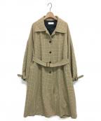 NEON SIGN(ネオンサイン)の古着「ガンクラブチェックバルカラーコート」|ベージュ