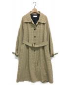 NEON SIGN(ネオンサイン)の古着「ガンクラブチェックバルカラーコート」|アイボリー