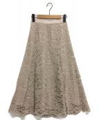 JUSGLITTY(ジャスグリッティー)の古着「アシメフレアレーススカート」 ベージュ
