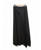 yohji yamamoto+Noir(ヨウジヤマモトプリュスノアール)の古着「[OLD]シルクラップマキシスカート」|ブラック