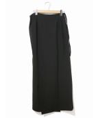 yohji yamamoto+Noir(ヨウジヤマモトプリュスノアール)の古着「[OLD]ウールギャバラップマキシスカート」|ブラック