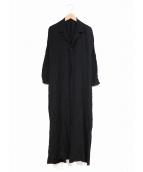 yohji yamamoto+Noir(ヨウジヤマモトプリュスノアール)の古着「[OLD]スリットシャツワンピース」|ブラック