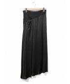 yohji yamamoto+Noir(ヨウジヤマモトプリュスノアール)の古着「[OLD]シルクスカート」|ブラック