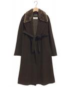 MaxMara(マックスマーラ)の古着「ファー付ウールカシミヤガウンコート」|ブラウン