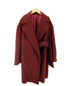()の古着「ベルトオーバーコート」|ワインレッド